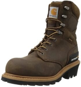 """Carhartt 8"""" Waterproof CML8369 Leather Logger Boots for Linemen"""
